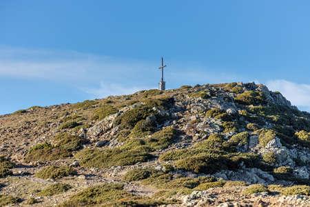 Cross on the pike of mountain in Spain, mountain Montseny Reklamní fotografie