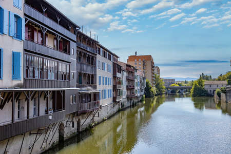 Nice buildings on the river Tarn in French town Castres.