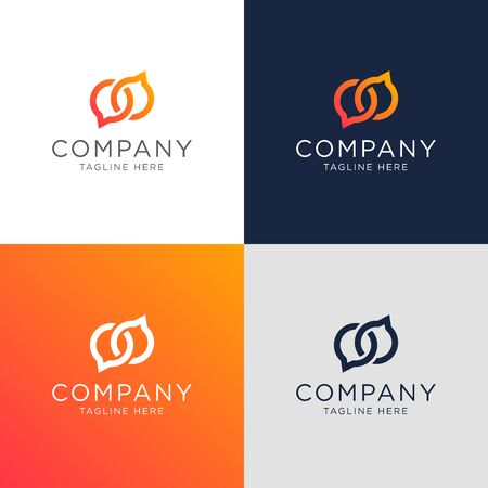 bubble chat infinity modern logo template