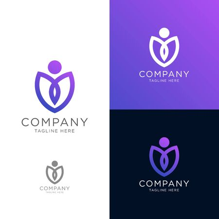 beauty human leaf modern logo template, very suitable for the beauty product logo Vectores