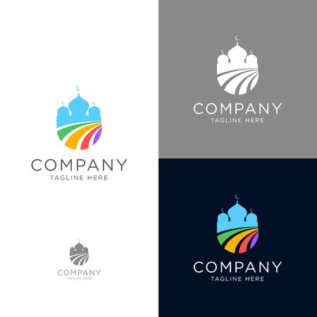 Colorful logo design of Mosque modern style