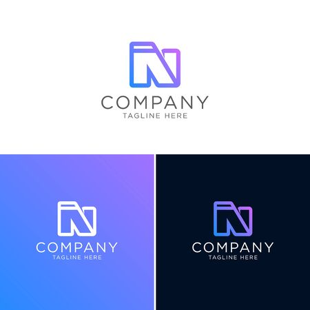 Logo design of abstract folder with letter N modern style Logos
