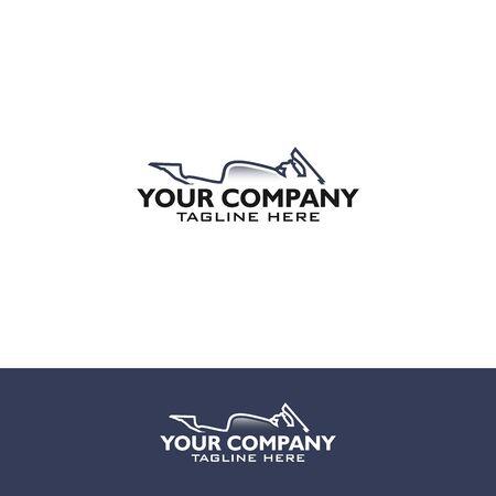 motorcycle silhouette line art logo template Logo