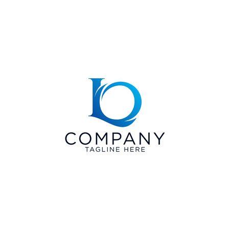 Logo design and emblem vector organic letter L and O blue logo template Ilustração