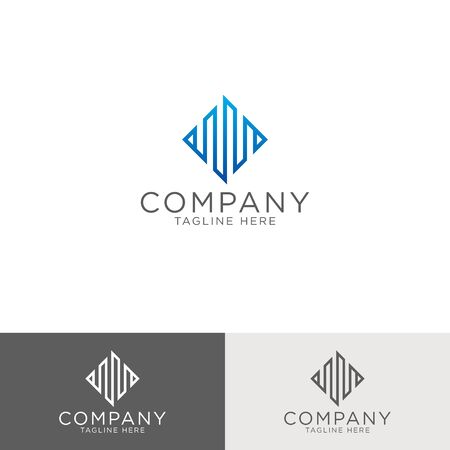 Logo design and emblem vector monoline pattern Abstract building, property development, real estate and mortgage logo template simple style
