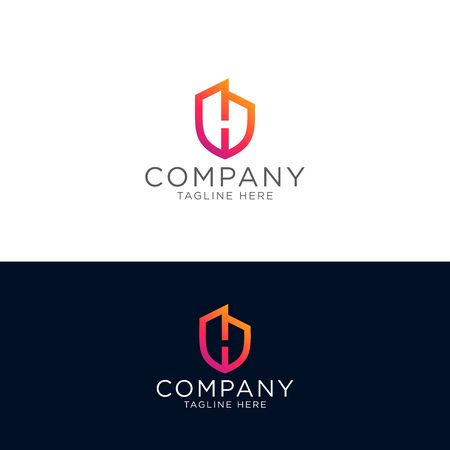 Property insurance logo template design emblem vector illustration of shield and building in negative space with H letter logo design template