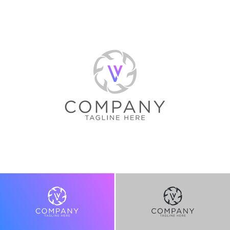 logo design of letter L V boutique style template