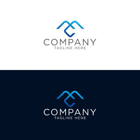 Logo design of Letter M and C with blue monoline style
