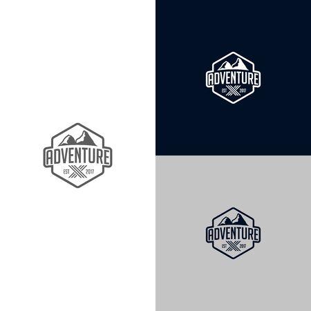 logo design Adventure hexagonal with mountain template strong style