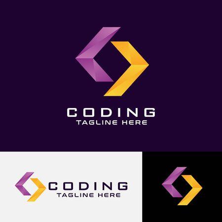Logo design emblem vector Geometric Coding logo modern style Template