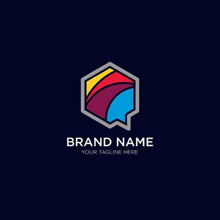 Hexagon Talk Flat logo design emblem vector illustration Logo Template