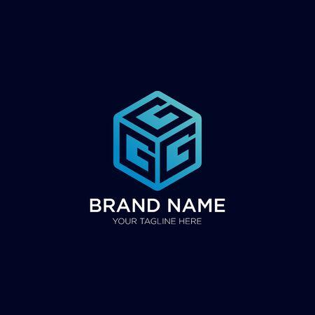 Triple G with a Box, 3D cube Premium Logo design emblem vector illustration logo Template