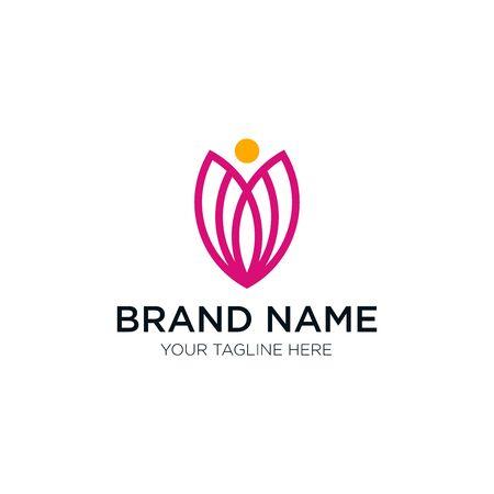 Logo design emblem vector illustration Abstract human and flower logo template Illustration