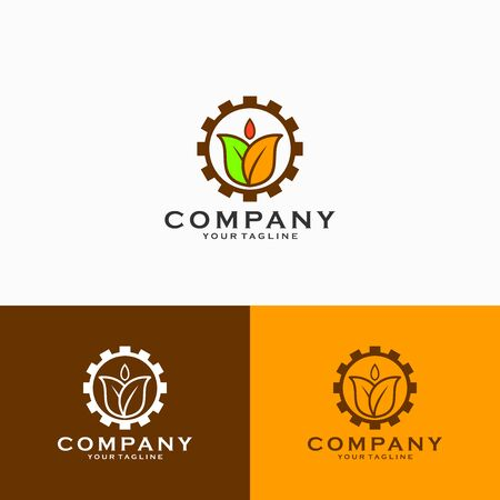 Agro industry logo design, gear combined with leaves logo design emblem vector illustration logo template
