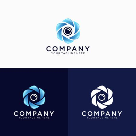 Photographer or photography logo design, wedding photography logo design, camera shutter and lens combined with hexagon, luxury and modern logo design emblem vector illustration logo template
