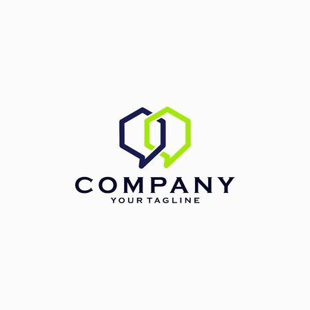 Coworking space logo template, bubble chat combined with hexagon logo design emblem vector illustration logo template