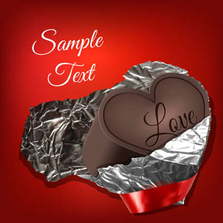 chocolate heart with the word Love and a red ribbon wrapped foil Illustration