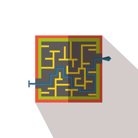 smart goals: Labyrinth and arrow flat icon with long shadows