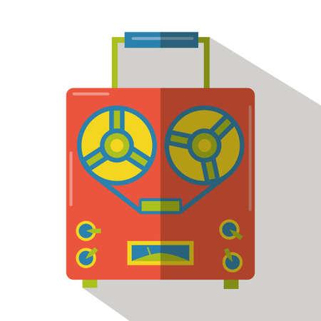 grabadora: grabador de audio de edad icono plana Vectores