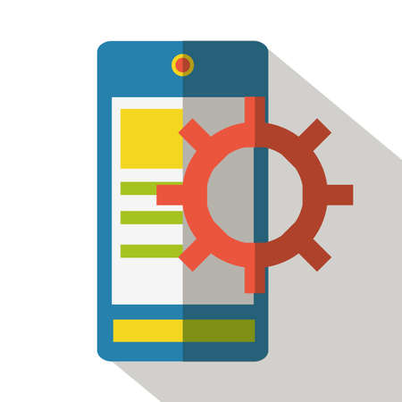 mobile application: Mobile application developing flat icon