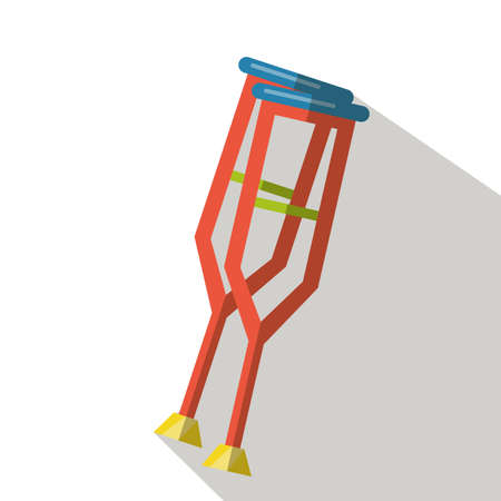 physical impairment: Crutch flat icon Illustration