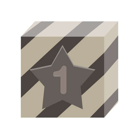 first prize: First prize in box monochrome flat icon in gray color theme illustration object