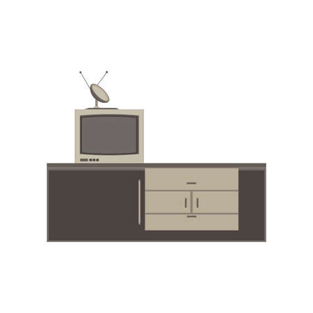 tv unit: TV unit with satellite dish monochrome flat icon in gray color theme illustration object
