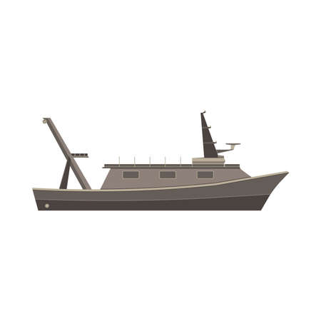 fishing vessel: Fishing vessel boat monochrome flat icon in gray color theme illustration object Illustration