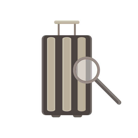 verification: baggage verification monochrome flat icon in gray color theme illustration object