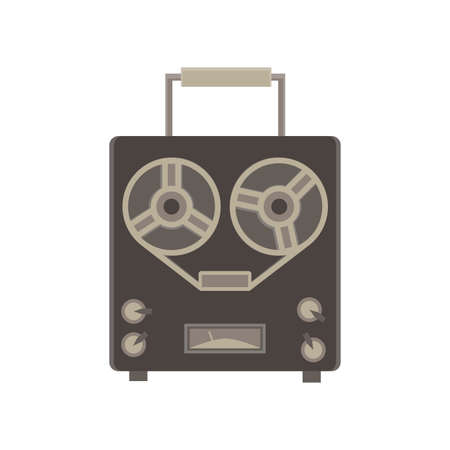 bass player: old audio recorder monochrome flat icon in gray color theme illustration object Illustration
