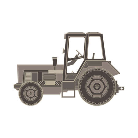 agronomics: farm tractor side view monochrome flat icon in gray color theme illustration object