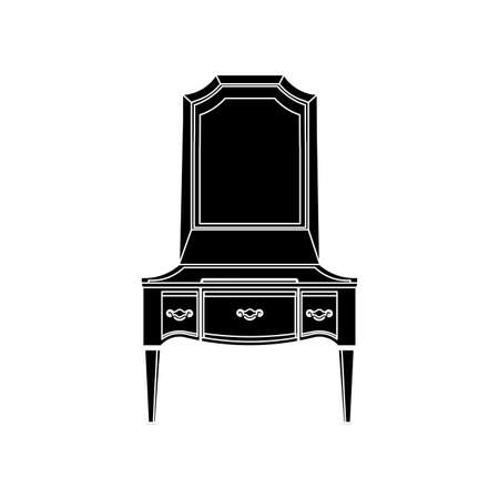 rich girl: dressing table front view flat icon silhouette illustration object