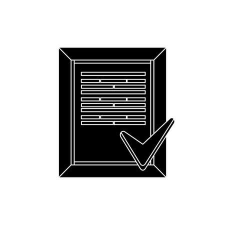 perfectly: document perform the tasks perfectly flat icon silhouette Illustration