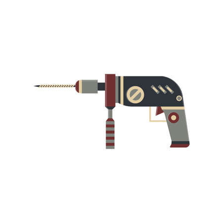 driller: driller flat icon in vintage color theme illustration object Illustration