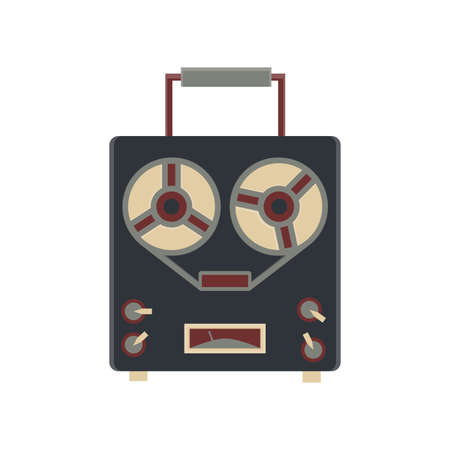 party system: old audio recorder  flat icon in vintage color theme illustration object