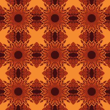 contrast floral: Universal orange color vector seamless patterns, tiling. Endless texture can be used for wallpaper, pattern fills, web page background,surface textures. Geometric ornaments. Illustration