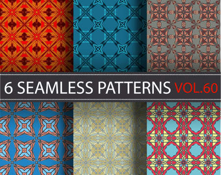 Universal vintage color set vector seamless patterns tiling