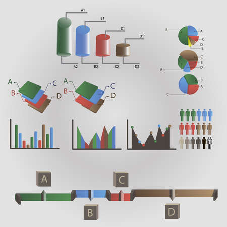 info: Charts info graphic elements Illustration