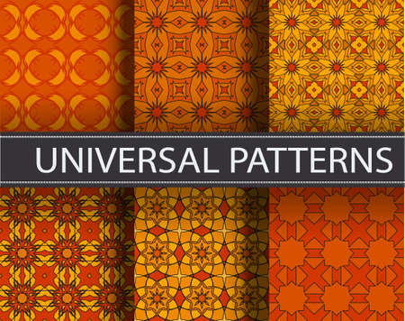 Universal orange color set vector seamless patterns, tiling. Endless texture can be used for wallpaper, pattern fills, web page background,surface textures. Geometric ornaments. Illustration