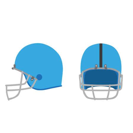 sports equipment: Football helmet vector American icon equipment isolated sport illustration white blue set