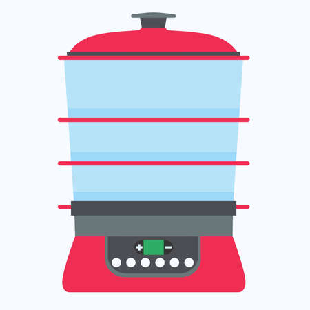 Steamer food icon vector cook cooking kitchen illustration isolated flat symbol equipment steam electric Illustration