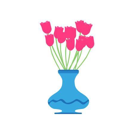 Vase Tulpe Vektor rote Blume Illustration schöne rosa isoliert weiße Blüte Pflanze Schönheit Dekoration grün Vektorgrafik