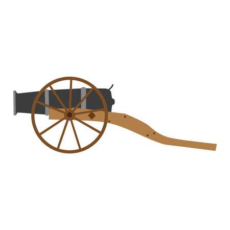 대포 대포 오래 된 총 벡터 일러스트 레이 션 군사 무기 전쟁 절연 고대의 육군 빈티지 아이콘 골동품 일러스트