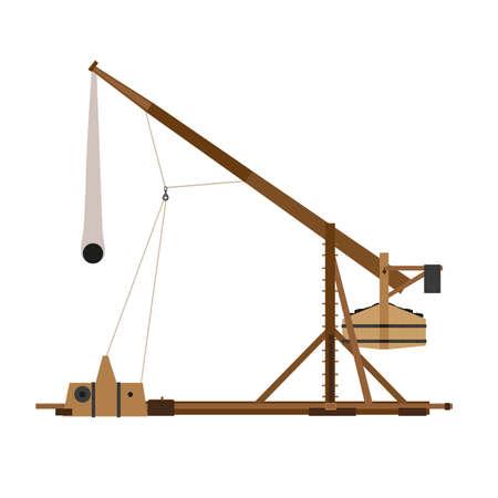 Trebuchet catapult vector war medieval siege illustration weapon wood ancient sling shot icon historical