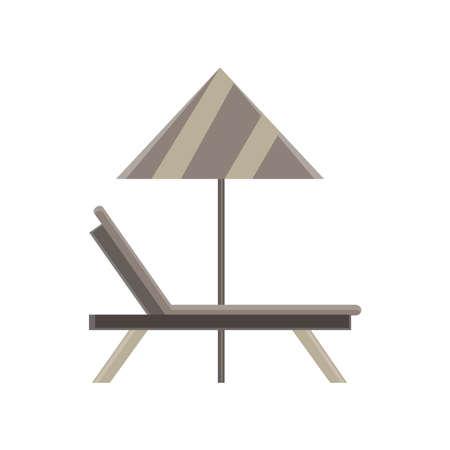 Des Liegeplatzikonen-Sommerkissen-Design-Komforts der Recliner-Vektor-Illustration flacher schwarzer Strand Standard-Bild - 85473189