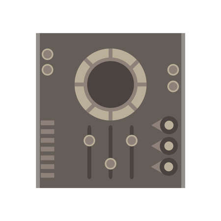 Dj mixer vector icon music party audio console control disc club equipment electronic record panel Illustration