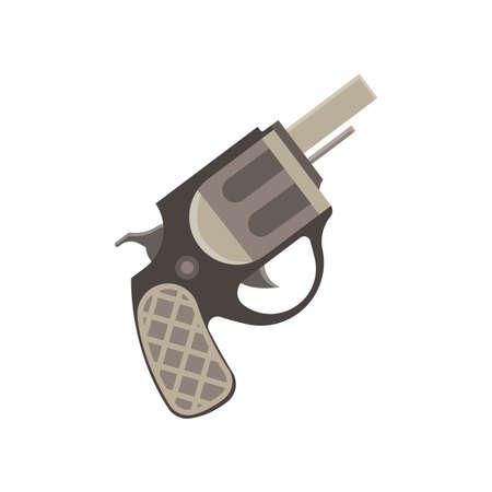 Revolver gun pistol vector vintage bullet weapon white handgun war metal danger illustration old Illustration