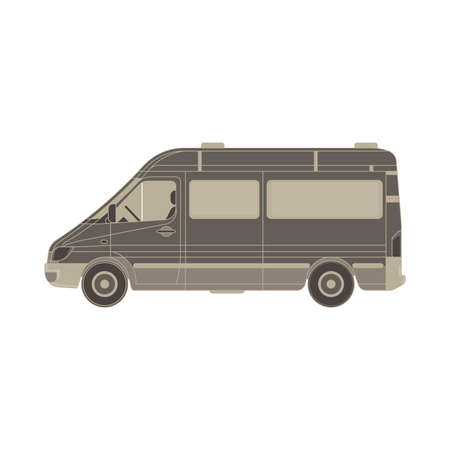 delivery service: Vector van flat icon isolated. Vehicle side view truck illustration. Auto automobile black blank branding bus car cargo commercial.Deliver empty hippie service minivan template. Transport travel truck Illustration