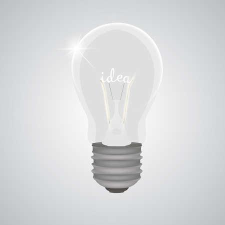 Bombilla bombilla realista luz ilustración vectorial idea idea potencia lámpara aislada icono blanco Foto de archivo - 85473353