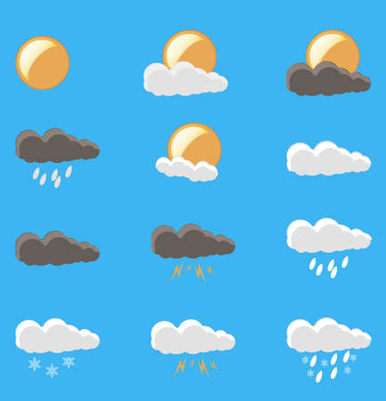 Weather icons vector set wind symbol moon sunny collection climate cold fog nature isolated
